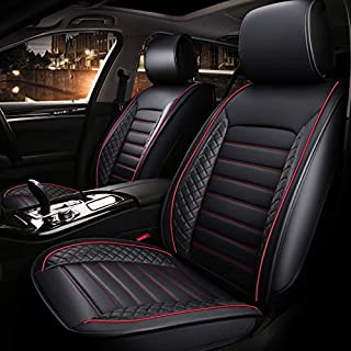 Car seat covers, waterproof and ventilated Universal PU leather car seats cushions(Easy to Install), Fit for Most mercedes benz,Audi, Toyota,Ford, Crysler(Black with red line)(COLOGo)