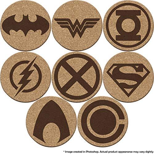 Justice League Cork Double-sided Coaster Set of 4, 6, or 8 (Batman, Superman, Wonder Woman, The Flash, Green Lantern, Martian Manhunter, Aquaman, Cyborg)
