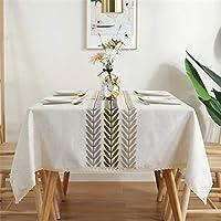 スクエアテーブルクロス防水テーブルクロステーブルクロス北欧リネンひし形幾何刺繡キッチンレストランパーティーデコレーションに最適,Lace 06,135*180CM