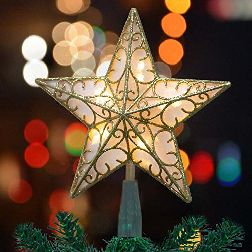 Funpeny 11 Inch Gold Glittered 5 Point Star Treetop, Christmas 10 LED Battery Operated Light Up Tree Topper Decoration for Christmas Home Bar Shop Office (Battery Not Include)