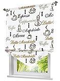 Blickdichte Raffrollo mit Kaffee Tasse Muster Rollos Vorhang Deko für Haus (B*H 140 * 140cm, Kaffee)