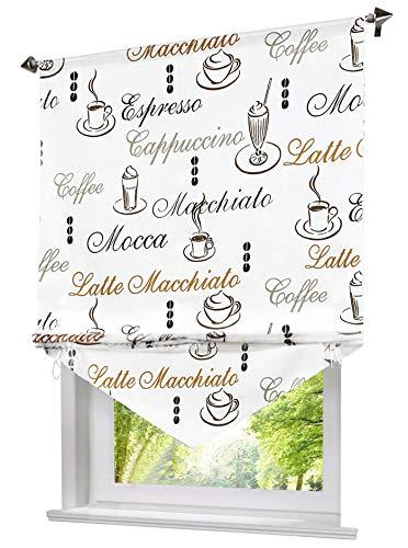 Blickdichte Raffrollo mit Kaffee Tasse Muster Rollos Vorhang Deko für Haus (B*H 80 * 140cm, Kaffee)