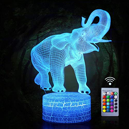 Elephant Night Lights 3D Optical Illusion LED Lamps Remote Control Nightstand Light with 16 Colors Changing Baby Nursery Desk Table Light Best Bday Gifts for Animals Lover Kids(Elephant(Remote))