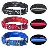 Hywean 3Pcs Collar de Perro Reflectante Collar Ajustable y Suave Collar de Perro Cómodo y Duradero para Perros Grandes...