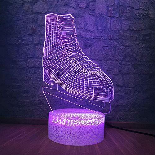 3D Lámpara 3D RGB LED Luz de Noche Deporte Hielo Hockey Botas de Patinaje Multicolor 7 Cambio de Color Lámpara de Mesa USB Dormitorio Mesita de Noche Decoración de Luz Regalos