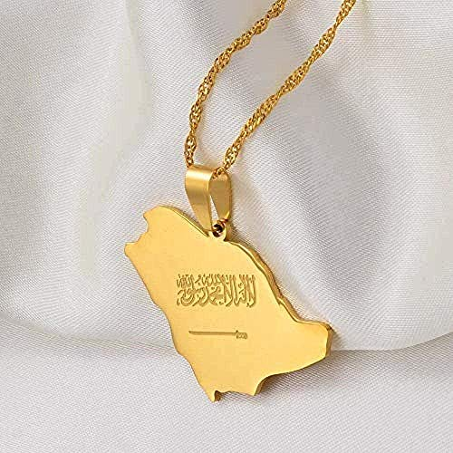 NC110 Necklace Saudi Arabia Map Flag Charm Pendant Necklace Silver Color/Gold Color Kingdom of Saudi Arabia Jewelry Women Girls