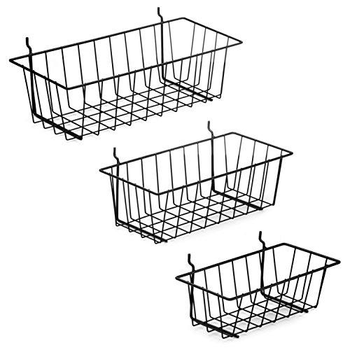 Pegboard Basket Set - 3 Pack - Hooks to 14 Hole Peg Board - Better Tool Organization - Organize Tools Workbench Accessories Garage Storage - Wall Organizer Attachments Black Wire Pegboard Basket