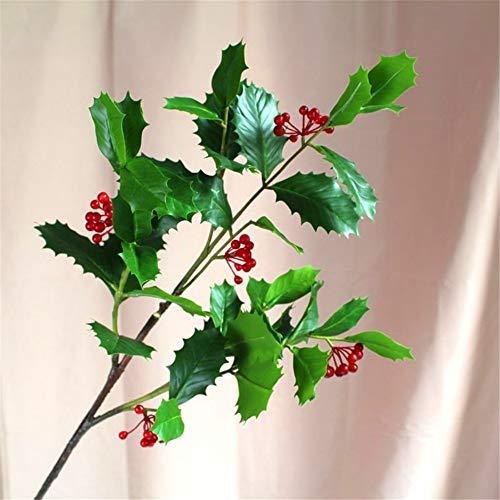 ZJJZH Kunstbloemen Groene plant Kerst decoratie simulatie bessen rode rijke fruit simulatie hulst fruit tak groene plant decoratie bloemstuk 63cm Kunstbloemen.