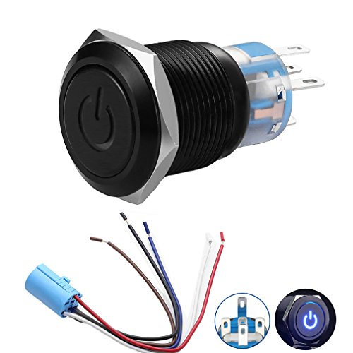 Quentacy 19mm 3/4' Metal Latching Pushbutton Switch 12V Power Symbol LED 1NO1NC SPDT ON/OFF Black Waterproof Toggle Switch with Wire Socket Plug (Blue)