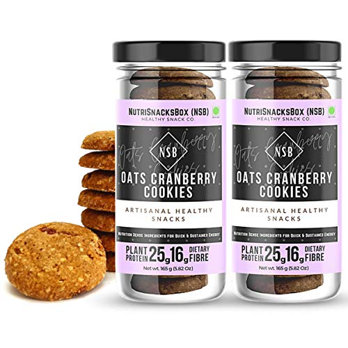 NutriSnacksBox Healthy Oats & Cranberry Cookies, 330g (Pack of 2 x 165g) | Vegan, No Added Sugar , High Protein, Fibre
