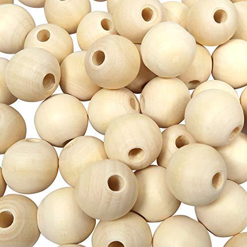 TOAOB 20mm 100 Stück Holzperlen Runde Natürliche Lose Spacer Perlen für DIY Schmuck Herstellung