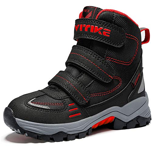 ASHION Kids Winter Snow Boots Trekking Climbing Outdoor Shoes Boys Trekking Waterproof Snowshoeing Childrens Hiking Boots 5 BlackRed 1 UK Child