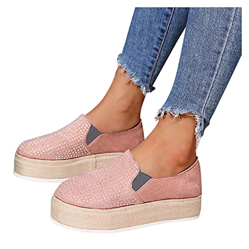 Gyouanime Shoes for Womens Platform Canvas Comfort Fashion Sneakers Casual for Ladies Girls Slip on Shoes Flat with Rhinestone Sneakers