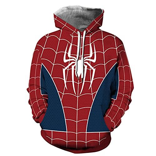 Disfraces de superhéroe Spiderman Anime Masquerade Onesies Trajes de cosplay con Cool Spiderman Impreso Bonito regalo Chaqueta con cremallera Abrigo Sudadera para Halloween Carnaval Cosplay(Size:5XL)