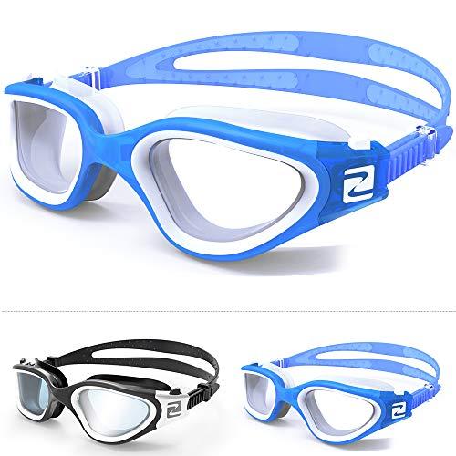 ZABERT Schwimmbrille, W1 Schwimmbrillen für Erwachsene Herren Damen Männer Frauen Kinder Profi Schwimmen Brille Antibeschlag UV Schutz Triathlon Schwimmbrille Blau Weiß Klar Klare Gläser Clear