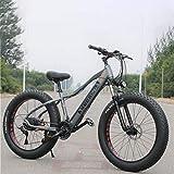 GASLIKE Adult Fat Tire Electric Mountain Bike, 350W Snow Bikes, Portable 10Ah Li-Battery Beach Cruiser Bicycle, Lightweight Aluminum Alloy Frame, 26 Inch Wheels,Gray,27 speed