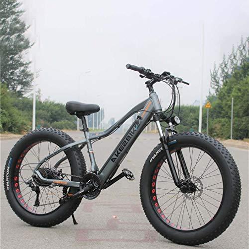 Adulti Fat Tire elettrica Mountain Bike, Biciclette da Neve 350W, Portatile 10Ah Li-Battery Beach Cruiser Biciclette, 26 Pollici Ruote,Grigio,27 Speed