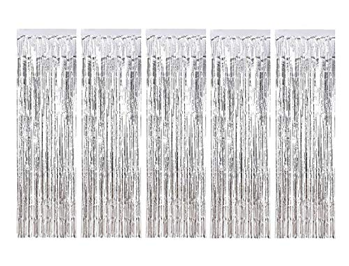 MerryNine 5 Pack Metallic Foil Fringe Curtain, 3 ft x 10 ft DIY Tassel Garland Banner for Wedding, Baby Shower, Event & Party Supplies Decoration (Silver)