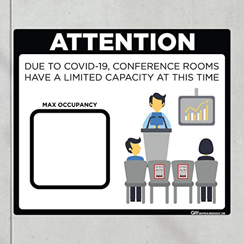 'Conference Room Limited Capacity' COVID-19 (CORONAVIRUS) Adhesive Durable Vinyl Decal- (Various Sizes Available) Sign by Graphical Warehouse- Safety and Security Signage (11.25x9.65', Black)