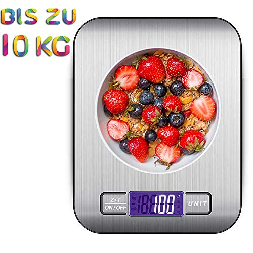 quancifang Küchenwaage Digital 10KG, Digitale Küchenwaage Waage Gramm Küchen Digitalwaage Kitchen Scale Küchenwage Haushaltswaage mit LCD Display Briefwaage Digital Waage Küche
