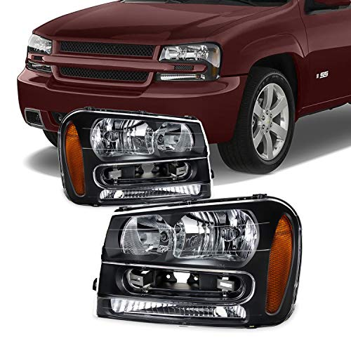 For 2002-2009 Chevy Trailblazer Black OE Replacement Headlights Driver/Passenger Head Lamps Pair