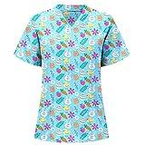 moonmisuni Nueva Pascua Camiseta de enfermería de Manga Corta y Cuello en V Camiseta de enfermería con Estampado de Conejo 021