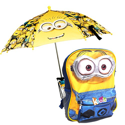 Licensed Despicable Me Minion School Backpack 12' Book Bag 3D eye W/ Umbrella