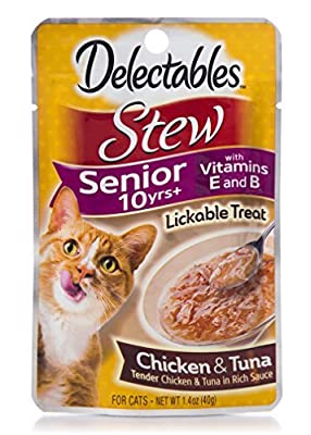Delectables Senior Stew Lickable Wet Cat Treats - Chicken & Tuna, 10 Years+