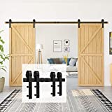 Homlux 12ft Heavy Duty Sturdy Sliding Barn Door Hardware Kit Double Door - Smoothly and Quietly - Simple and Easy to Install - Fit 1 3/8-1 3/4' Thickness Door Panel(Black)(J Shape Hangers)