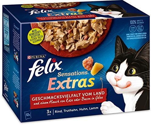 Felix Katzennassfutter Sensations Extras in Gelee Geschmacksvielfalt vom Land, 6er Pack (6 x 12 x 85g) Portionsbeutel
