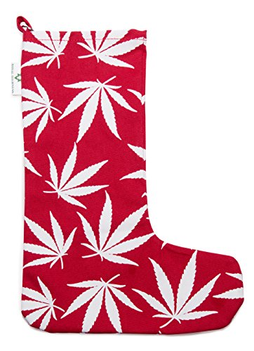 Marijuana Leaf Christmas Stocking (Red)