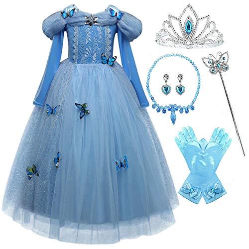 YOGLY Principessa Cenerentola Vestito Ragazze Pizzo Blu Manica Lunga Tulle Lucido Farfalla Compleanno Natale Halloween Carnevale Cosplay Costumi del Partito Bambini 3-10 Anni