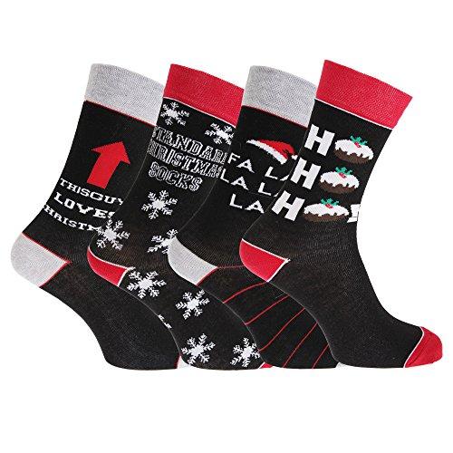 Pertemba Global 4 pares de calcetines con motivos navideños para hombre (39-45) (Rojo/Negro/Gris)