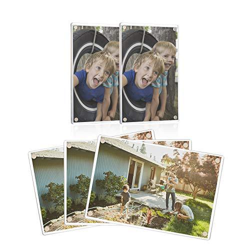 Onewall Acryl Bilderrahmen 10 x 15 cm Magnetische Bilderrahmen Magnetrahmen Fotorahmen Kühlschrank-Magnete für Fotos Tickets Visitenkarten Notizen Memos Bilder, 5 Stück