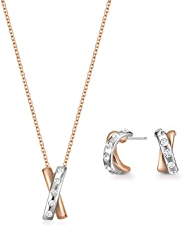 Mestige Women Glass Rose Gold Braylee Set with Swarovski Crystals