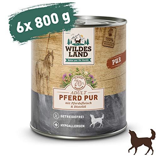 Wildes Land | Nassfutter für Hunde | Pferd PUR | 6 x 800 g | mit Distelöl | Getreidefrei & Hypoallergen | Extra hoher Fleischanteil von 70% | Beste Akzeptanz und Verträglichkeit