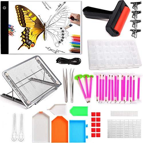 Placa de luz LED 5D, mesa de luz, placa de iluminación, herramienta de pintura de diamante, rodillo de dibujo, dibujo, DIY pintura de diamante juego de herramientas de pintura con bordado de diamantes