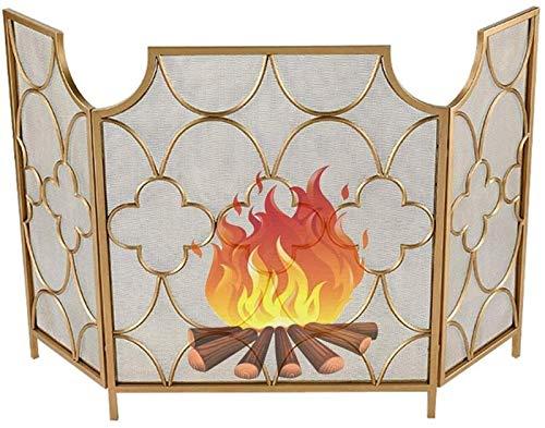IWQTO Kamin Funkenschutz 3-Panel-Vintage Gold-Ton Kamin Feuer Bildschirm, Mehr Zier Kamin Bildschirm Metal Mesh Schirm-Vorhang for Wohnzimmer