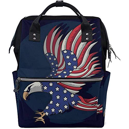 Backpack Eagles Flag American Diaper Backpack Mom Casual Large Capacity Zipper 28X18X40Cm Baby Bags Multi-Function Travel Backpacks Dad Unisex