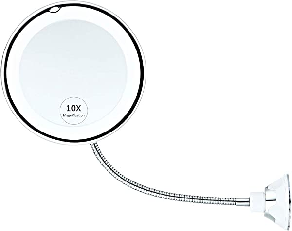 10X Magnifying Makeup Mirror With Light DokFin Flexible Gooseneck Led Lighted Bathroom Vanity Mirror With Strong Suction Cup And 360 Degree Swivel Perfect For Wall Mounted