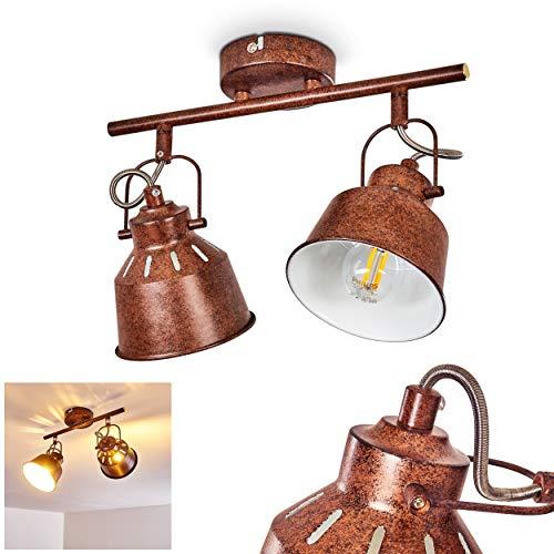 Lámpara techo Safari metal marrón oxidado/blanco