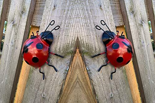 2 x Large Ladybird Garden Wall Decorations Ornament Fence Wall Outdoor Summer.