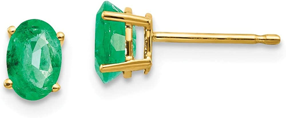 Solid 14k Yellow Gold Emerald Green May Gemstone Post Studs Earrings - 6mm x 4mm