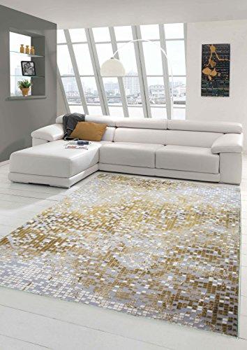 Traum Teppich Designerteppich Moderner Teppich Wohnzimmerteppich Kurzflor mit Konturenschnitt Kariert in Grau Gelb Weiß, Größe 120x170 cm