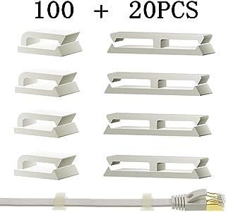 Clips de Cable Adhesivo, Clips de Cable Ethernet, gestión de Cable de Abrazadera de Cable para el hogar y la Oficina (100 Piezas)