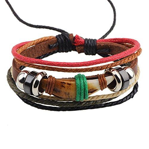 Secreto del invierno moda perro dientes forma piedra Multi Strand cuerda aleación con cuentas ajustable pulsera de cuero
