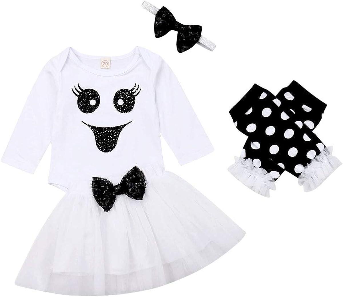 Infant Newborn Baby Girl Halloween Outfit Clothes Romper Tutu Skirt Leg Warmers Headband 3PCS Set