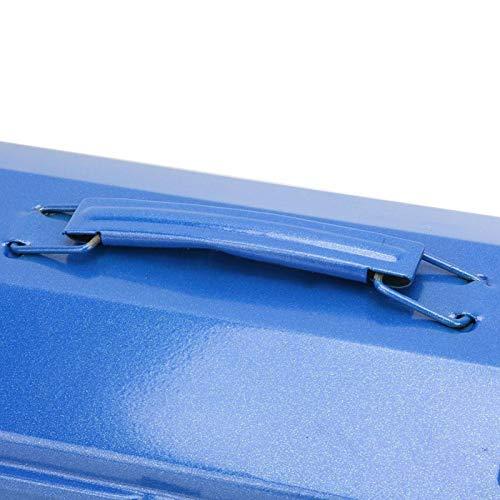 Caja de almacenamiento de herramientas de gran capacidad, color azul, conveniente 100% nuevo, con mango telescópico para almacenamiento de herramientas de mantenimiento (37 x 16 x 11 (350))