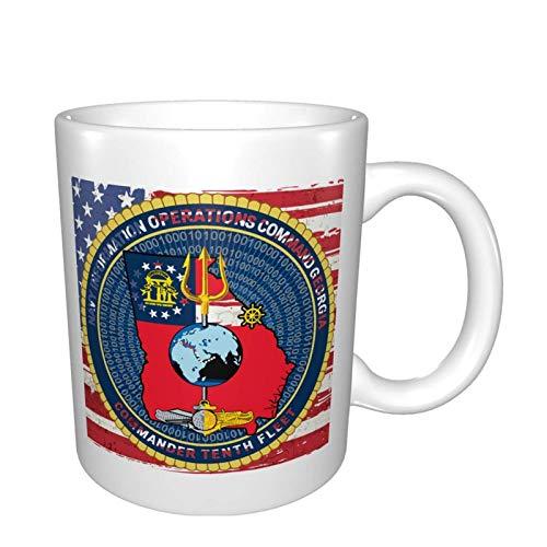 Nioc Georgia Commander Décima Flota Brillante Multi Grandes Tazas de porcelana para café, té, cacao tazas de cerámica de 11 oz