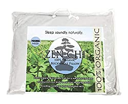 Image of ZEN CHI Buckwheat Pillow- Organic Standard Size (14x20) w Natural Cooling Technology- All Cotton Cover w Organic Buckwheat Hulls: Bestviewsreviews